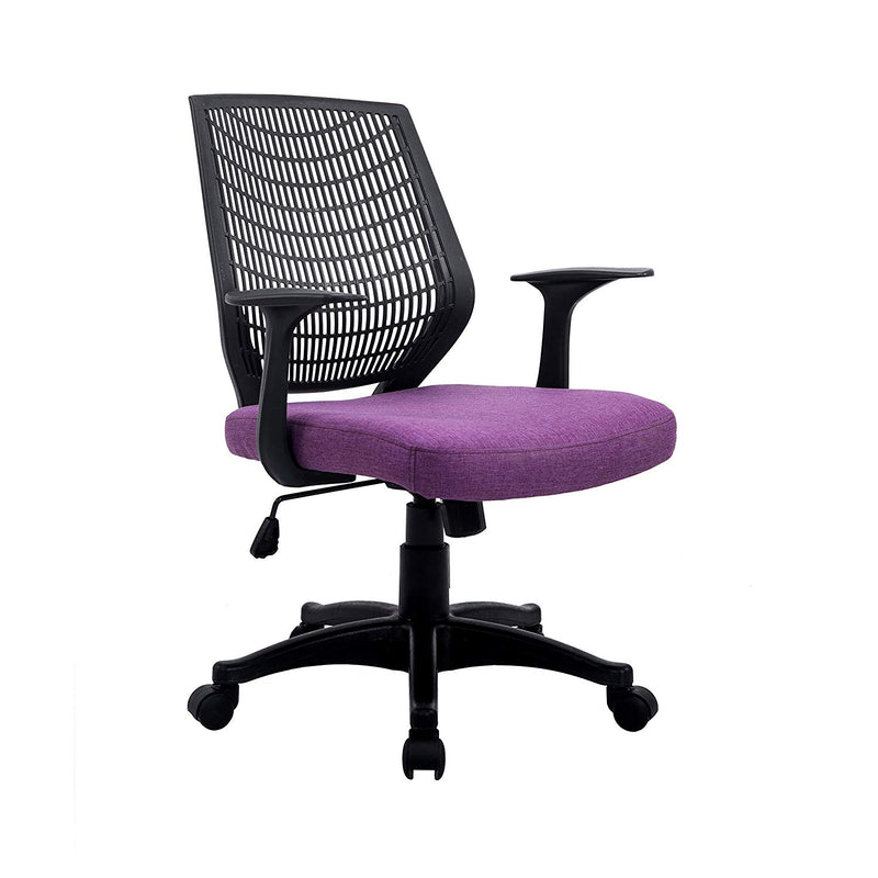 Fabric Medium Mesh Back Desk Office Swivel Chair with Removable Back Cushion, Purple