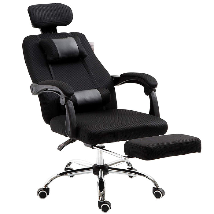 Fabric Recline Office Chair with Footrest and Neck & Lumbar Cushion, Black