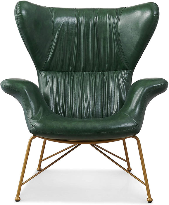 Oliver Vintage Effect Wingback Green PU Leather Armchair Accent Chair 2