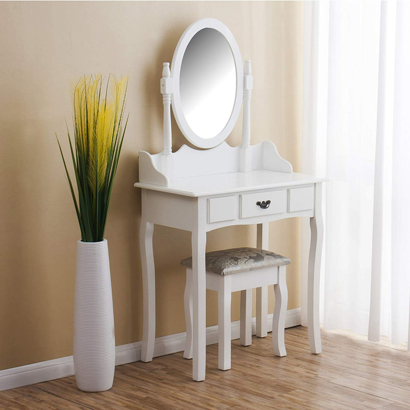 White 1-Drawer Dressing Table Set with Cushioned Stool & Oval Mirror