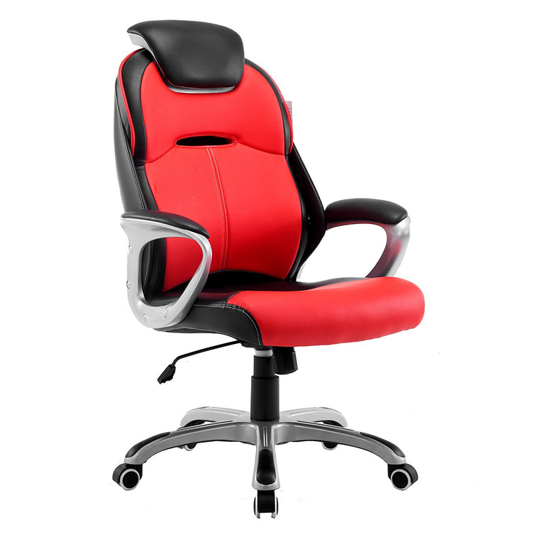 Extra Padded PU Leather Executive Swivel Office Chair with Padded Headrest, Red