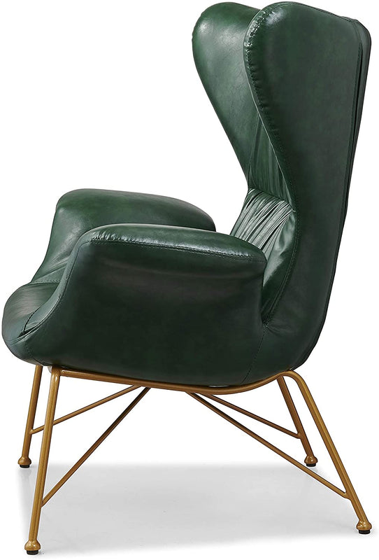 Oliver Vintage Effect Wingback Green PU Leather Armchair Accent Chair 4