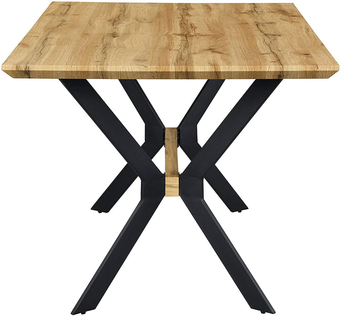 Granby Wotan Oak Effect 140cm Dining Table with Geometric Metal Legs 5