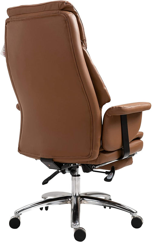 Abraham Wingback Style Office Chair with Footrest in Brown PU Leather 7