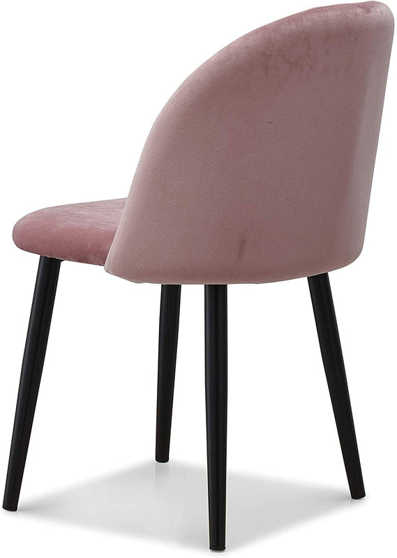 Set of 2 Edmonton Velvet Dining Chairs with Quilted Backrest in Pink 6