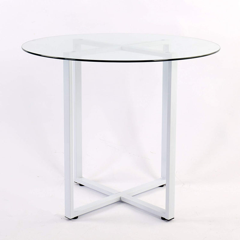 LEROY Round Clear Glass Dining Table with White Steel Frame