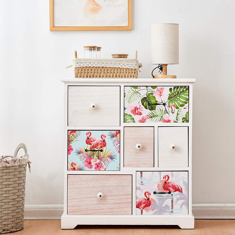 Cherry Tree Furniture Flamingo & Tropical Leaves Pattern Solid Paulownia Wood 7-Drawer Storage Cabinet Sideboard