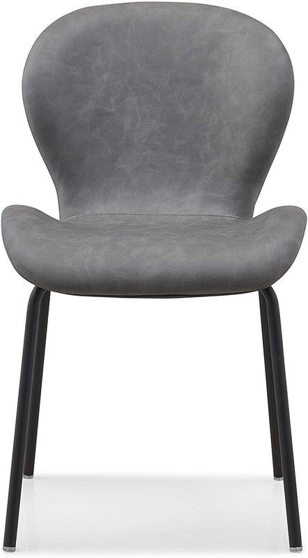 Set of 2 Fernie Vintage Grey Colour PU Dining Chairs with Black Metal Legs 3