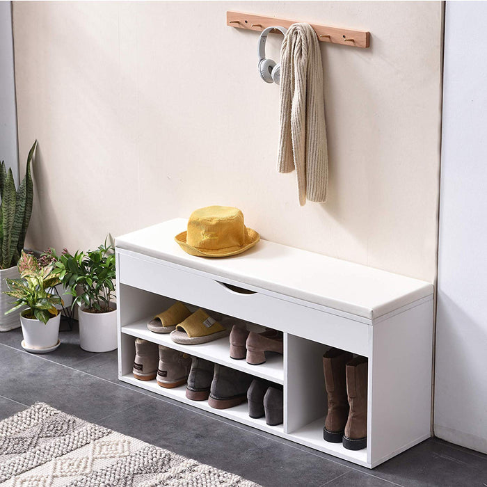 Hallway Shoe Rack Padded Bench Storage 103.5 x 29.5 x 48 cm White 4