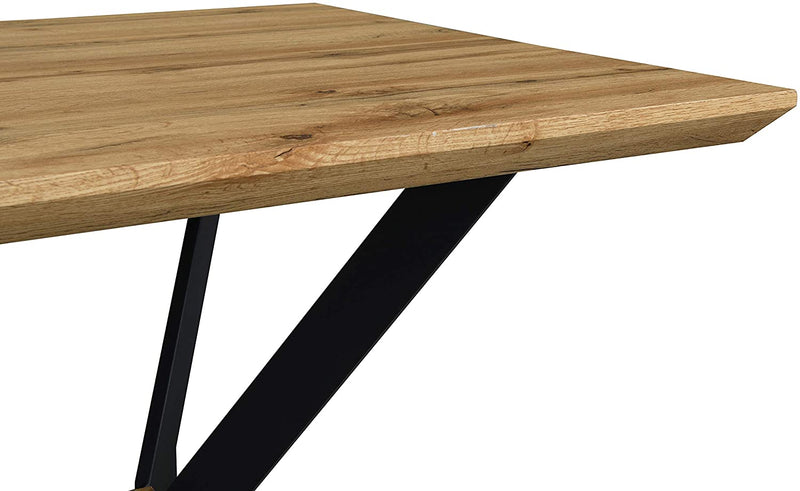 Granby Wotan Oak Effect 140cm Dining Table with Geometric Metal Legs 6