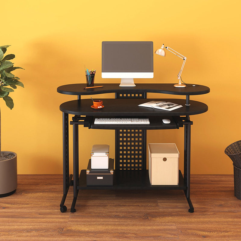 Expandable L- Shape Computer Desk Computer Workstation Corner Desk, Black