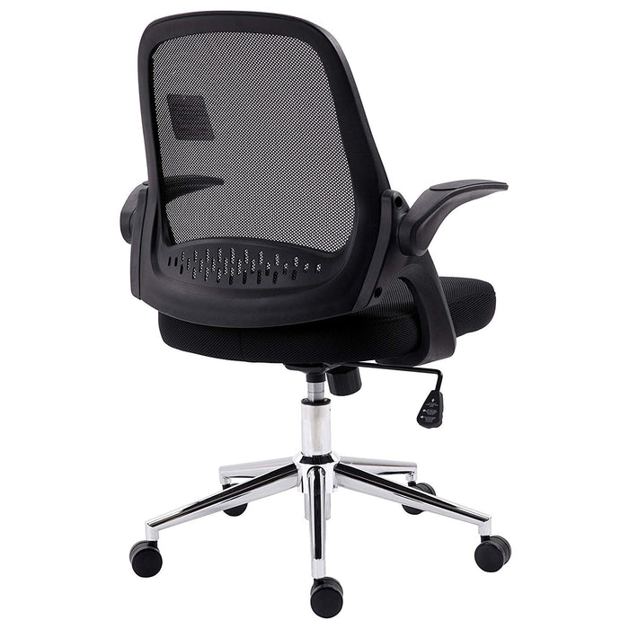 Mesh Fabric Swivel Office Chair Computer Desk Chair with Adjustable Armrests & Chrome Base, Black