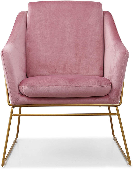 HEDY Velvet Accent Chair Armchair with Sculptural Metal Frame in Pink Velvet 2