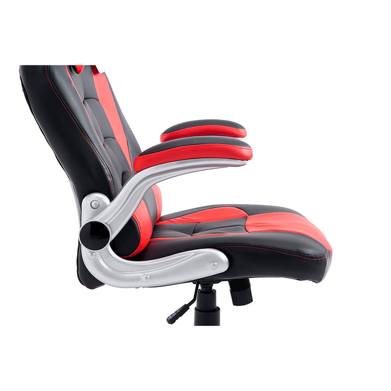 CTF High Back Racing Sport Swivel Chair with Adjustable Armrests & Headrest Cushion, Red