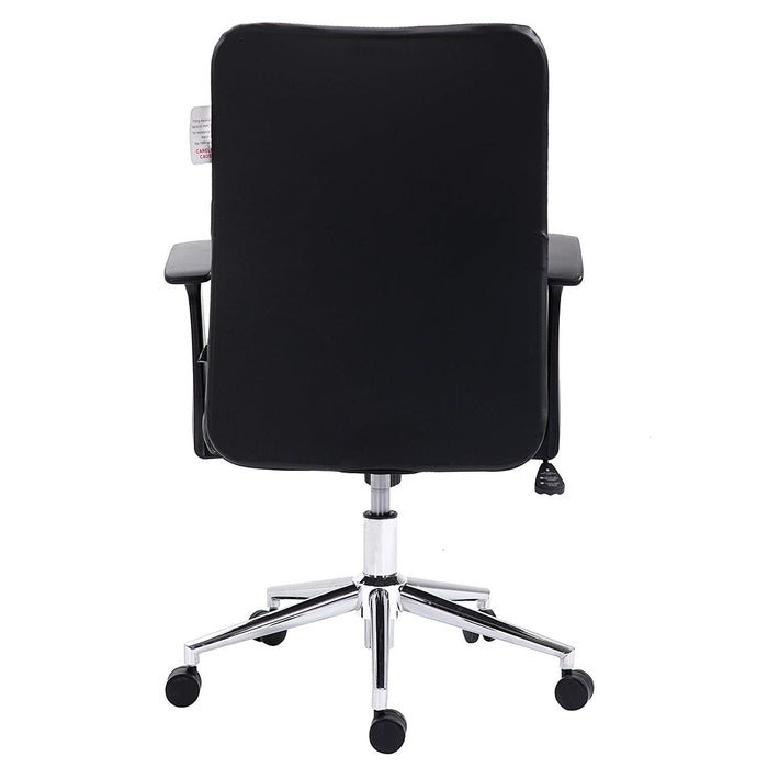 pu leather padded medium back swivel office chair with chrome base black
