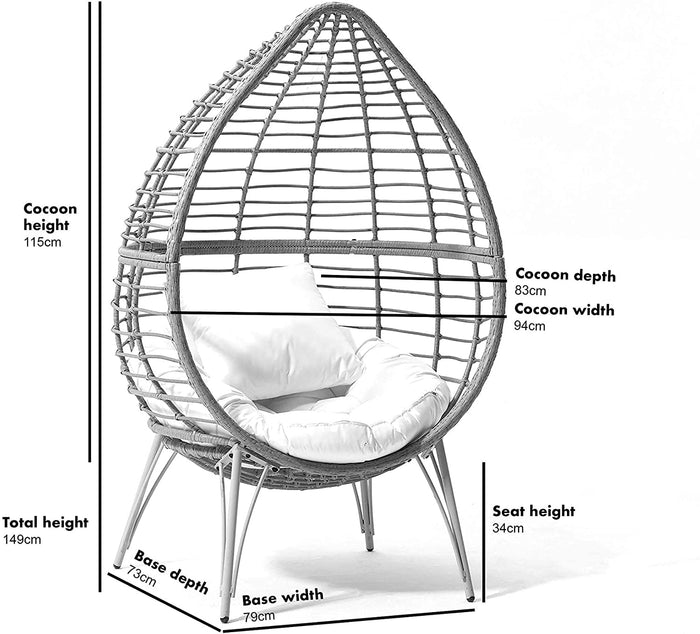Caspian Natural Rattan Effect Cocoon Patio Egg Chair 6