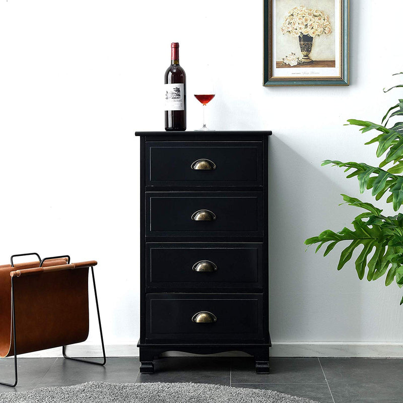 CAMROSE Wooden Chest of Drawers/Bedside Table with Metal Cup Pull Handles Black 4 Drawer 2