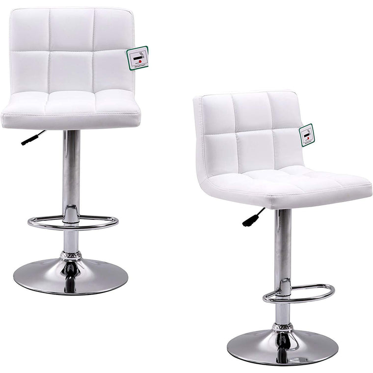 Pair of Faux Leather Chrome Base Swivel Bar Stool (White) MB41