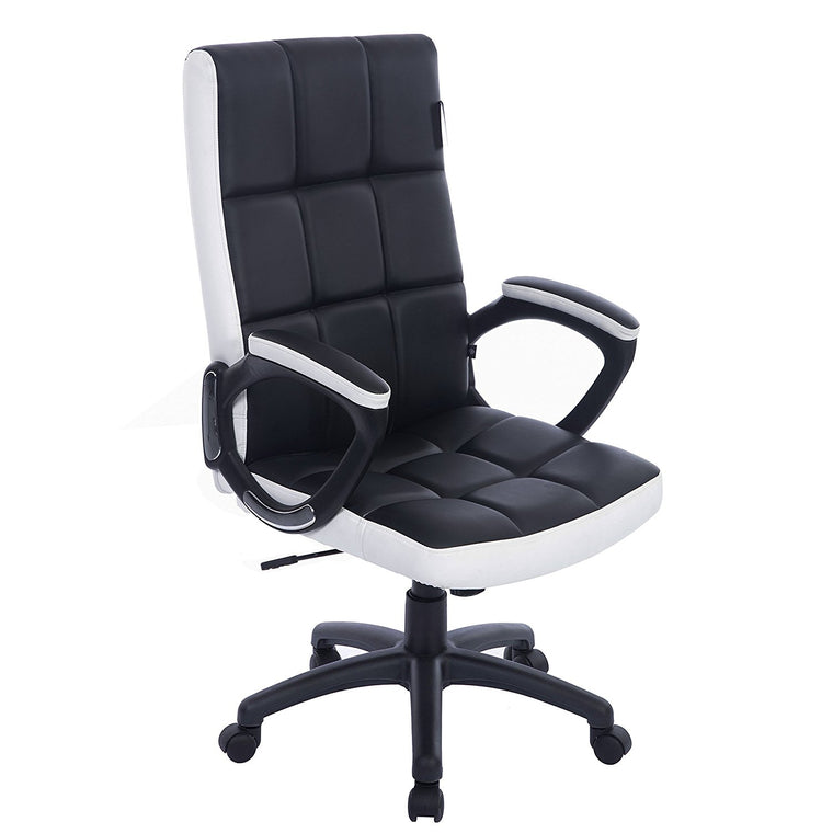 Waffle Contrasting Panels High Back PU Leather Swivel Executive Office Chair, Black & White