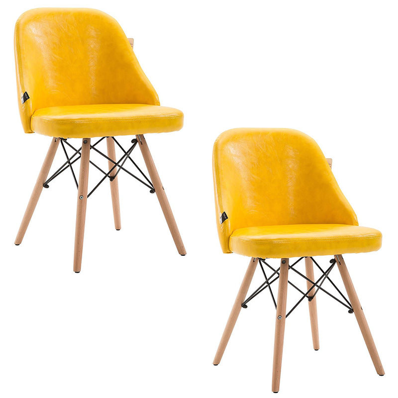 ctf retro modern pu leather padded dining chair pair with solid legs yellow