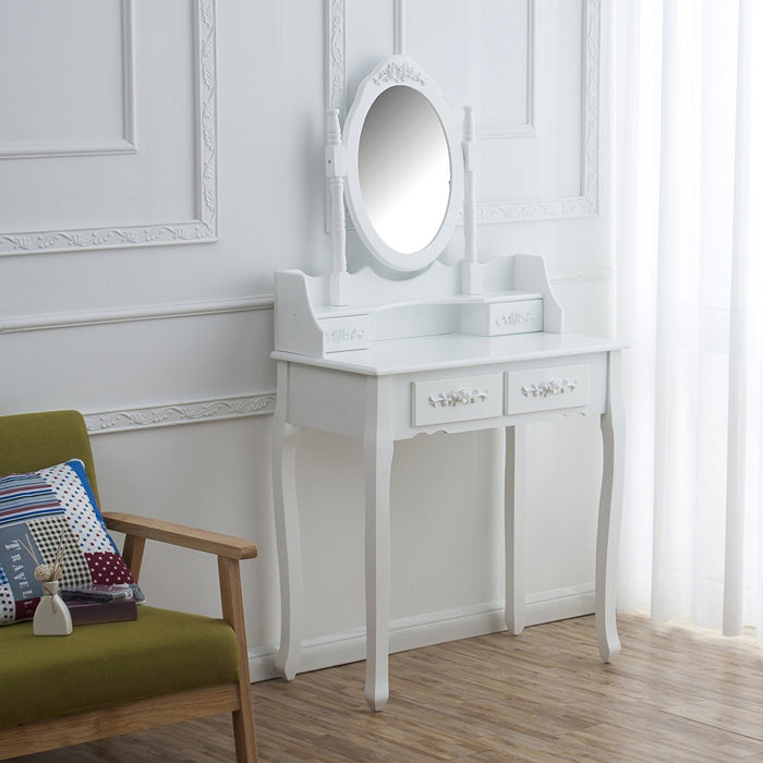 4-Drawer Vanity Dressing Table Set with Stool & Oval Mirror, White
