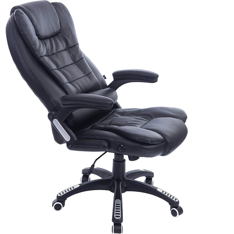 Executive Recline Padded Swivel Office Chair with Vibrating Massage Function, Black