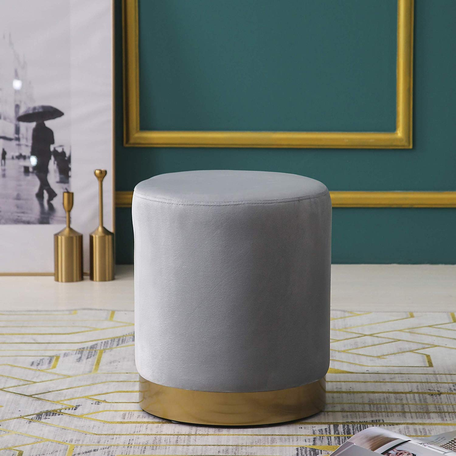 MIA Plush Velvet Stool Pouffe with Golden Accents Grey 1