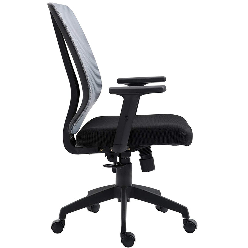 Grey Mesh Medium Back Executive Office Chair Swivel Desk Chair with Synchro-Tilt, Adjustable Armrests