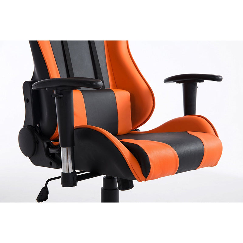 ctf pro high back metal frame swivel gaming chair with 3 d adjustable armrests orange