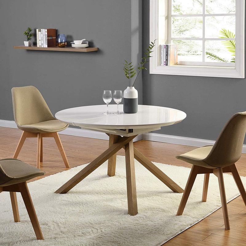 GRENCHEN Round to Oval 4 to 6-Seater White High Gloss Extendable Dining Table 3