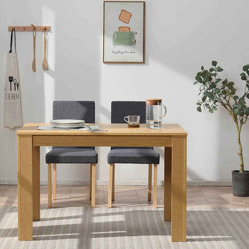 5 Piece Dining Room Set 4 Seater Dining Table with 4 Chairs with Oak Colour Table and Grey fabric Seats 4