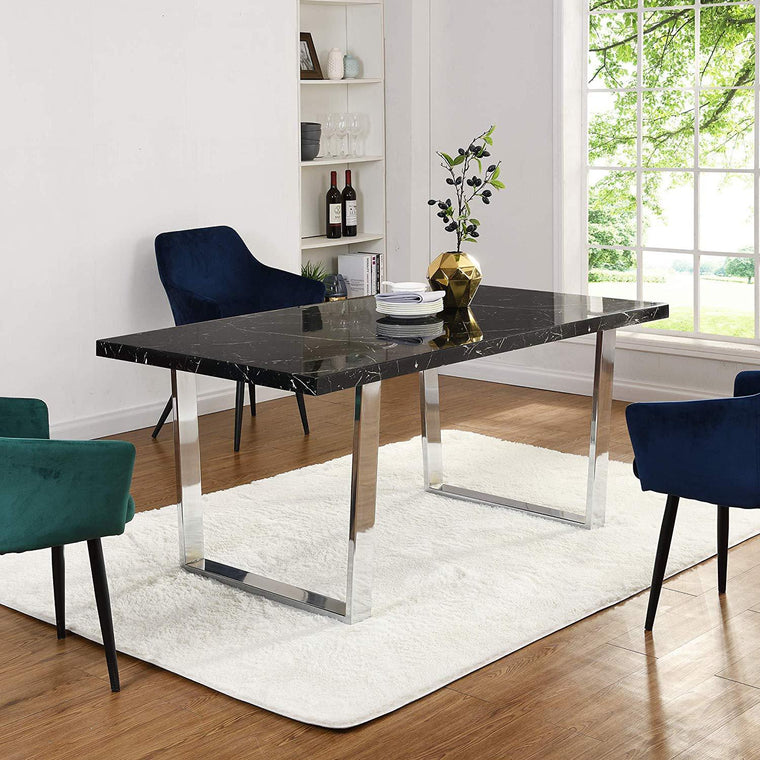 BIASCA 6-Seater High Gloss Marble Effect Dining Table with Silver Chrome Legs Black