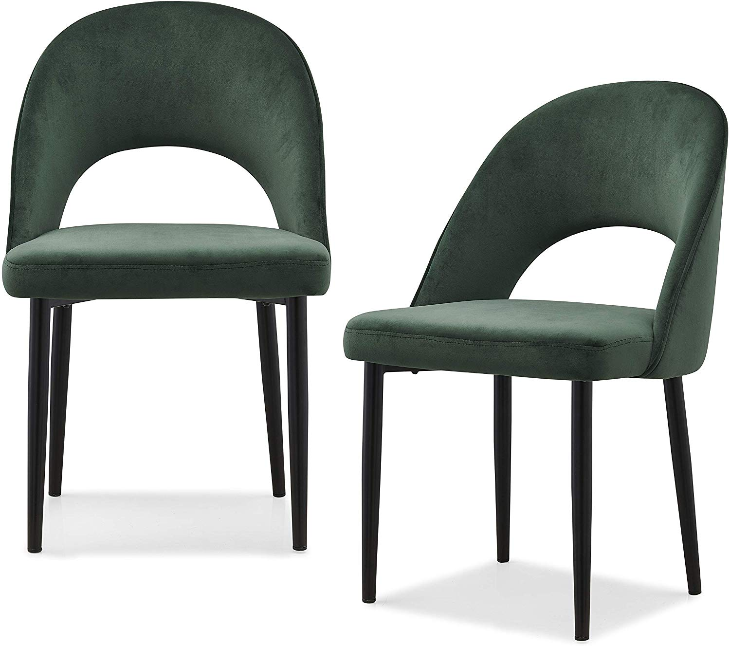 Calgary Set of 2 Velvet Dining Chairs in Green 1
