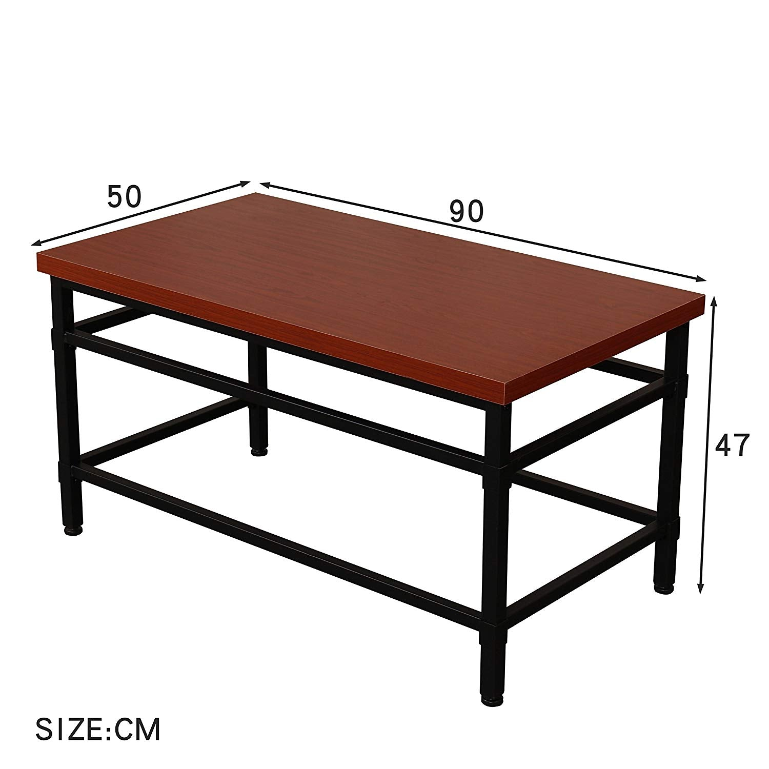 MORGAN Mahogany Colour Coffee Table 90 x 50 cm with Black Steel ...
