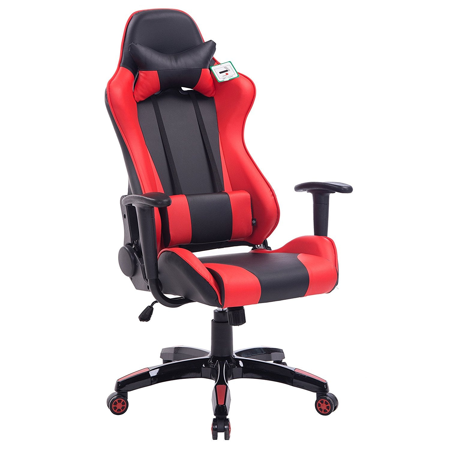 CTF PRO High Back Metal Frame Swivel Gaming Chair with 3-D Adjustable Armrests, Red