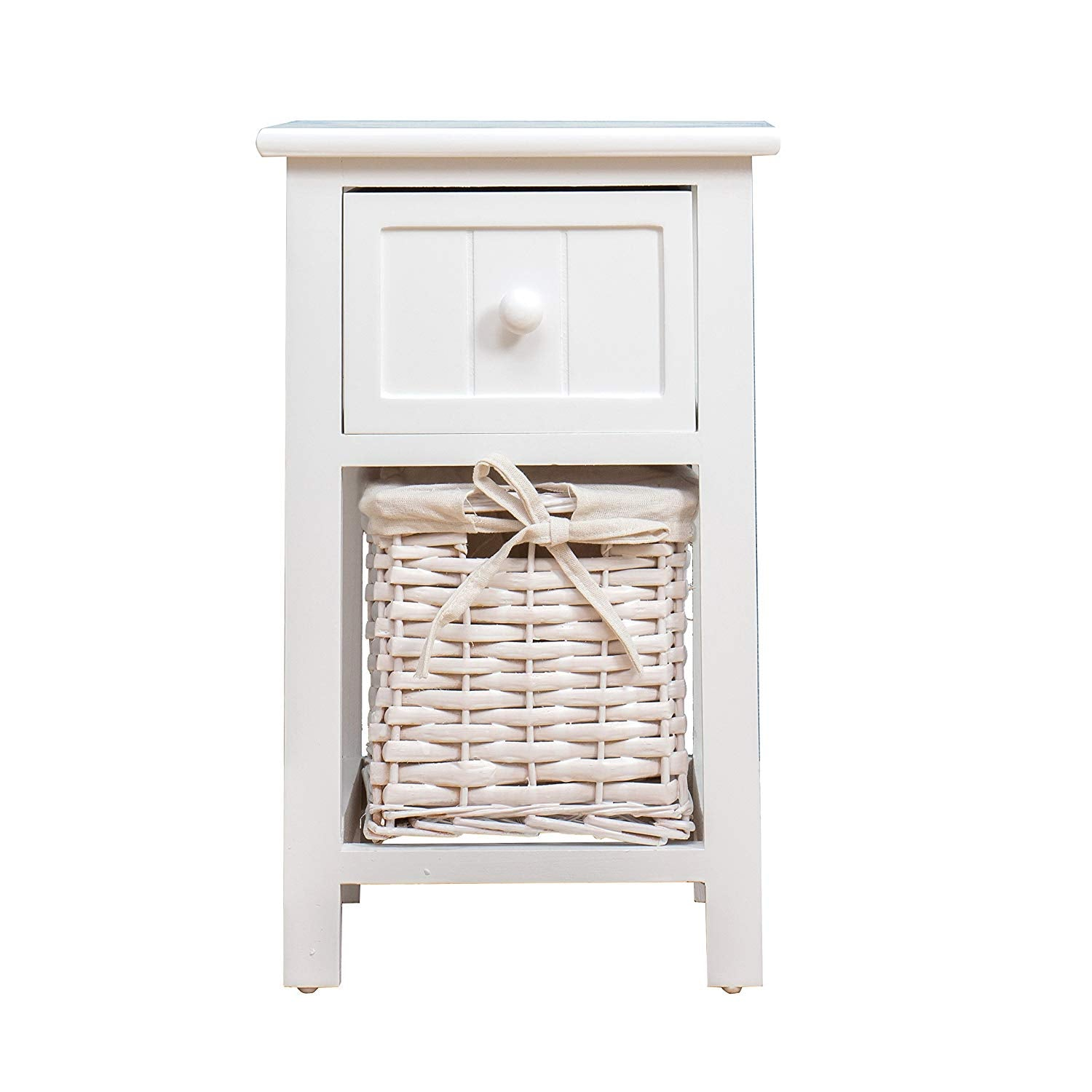 White Wood Bedside Table With 1 Drawer 1 Wicker Basket Storage Shop Designer Home Furnishings