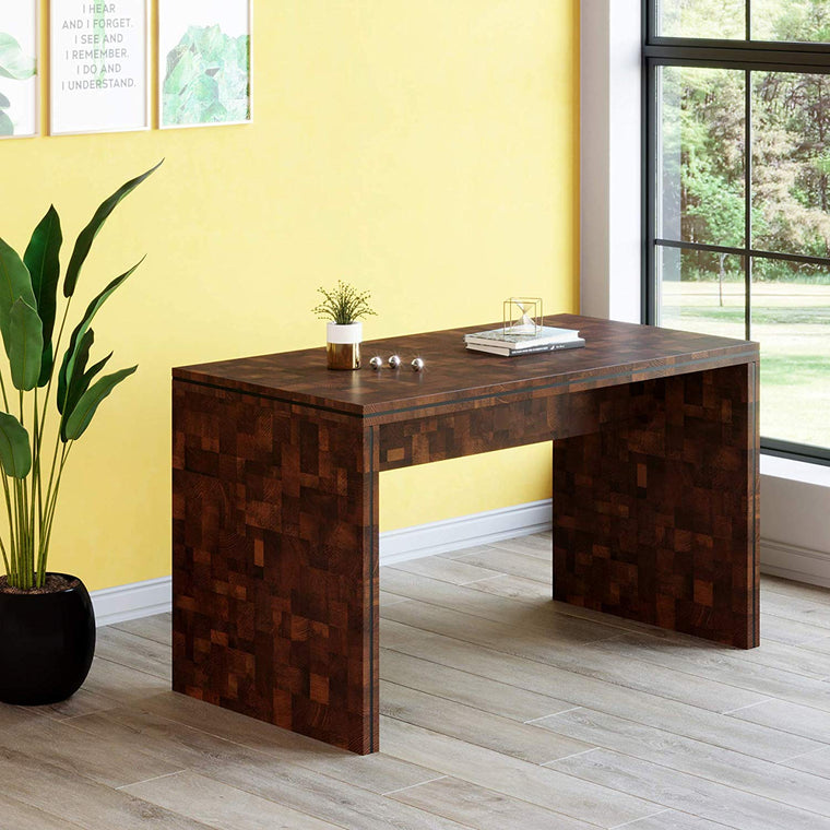 Cherry Tree Furniture KUNO Chequered Walnut Colour Rectangular Home Office Desk