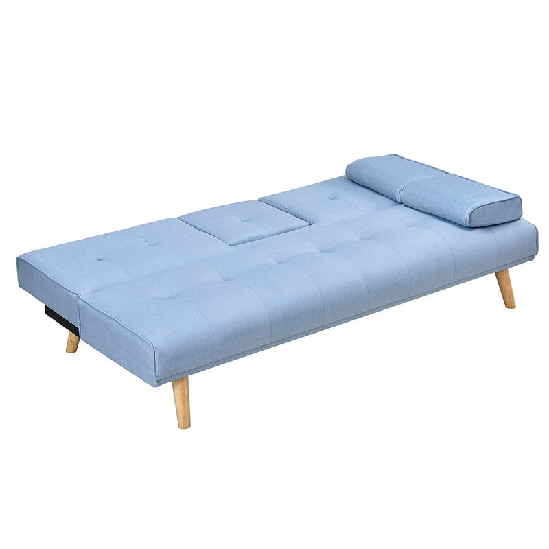 ACRUX 3-Seater Sofa Bed with Cup Holders & Cushions, Light Blue Fabric