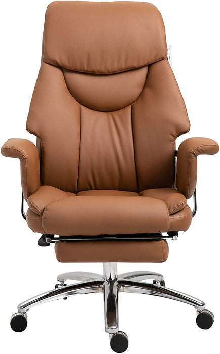 Abraham Wingback Style Office Chair with Footrest in Brown PU Leather 2