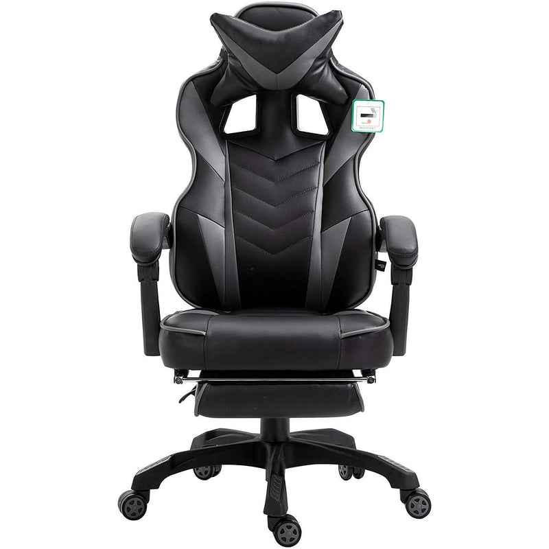 CTF High Back Recliner Gaming Swivel Chair with Footrest /& Lumbar /& Head Cushion