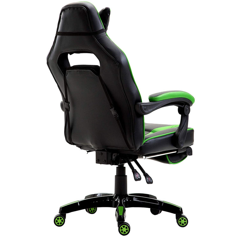 High Back Recliner Gaming Swivel Chair with Footrest & Adjustable Lumbar & Head Cushion, Black & Green