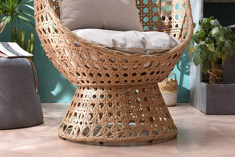 Nerida Natural Rattan Effect Cocoon Swivel Garden Egg Chair 6