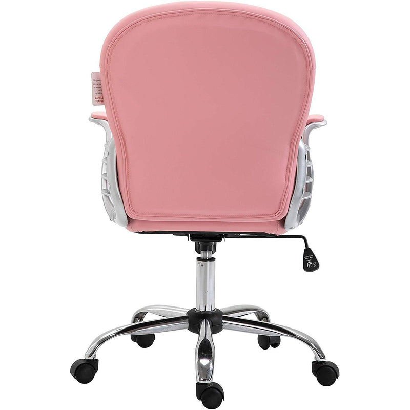 Cherry Tree Furniture Chesterfield Diamante Button Swivel Chair with Chrome Feet Pink PU
