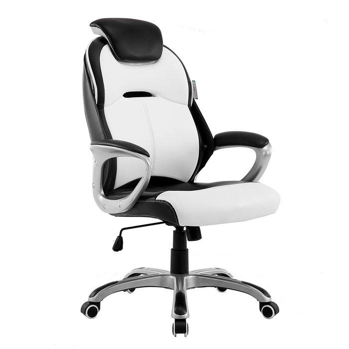 Extra Padded PU Leather Executive Swivel Office Chair with Padded Headrest, White