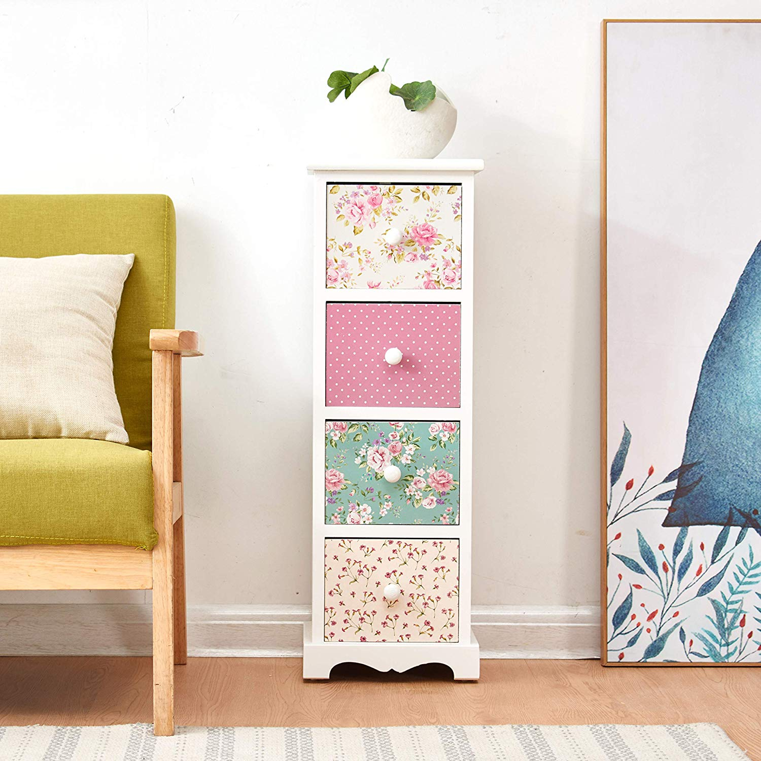 Cherry Tree Furniture CANTERBURY 4-Drawer Shabby Chic Cabinet, Rose & Polka Dot Pattern 4-Drawer Cabinet