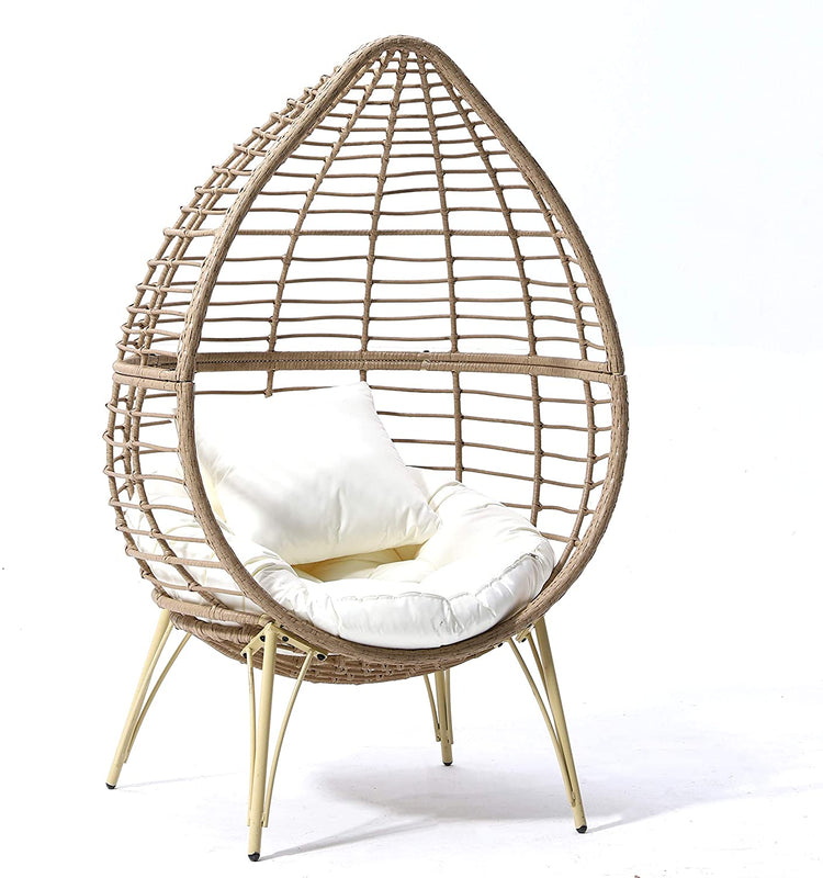 Caspian Natural Rattan Effect Cocoon Patio Egg Chair 3