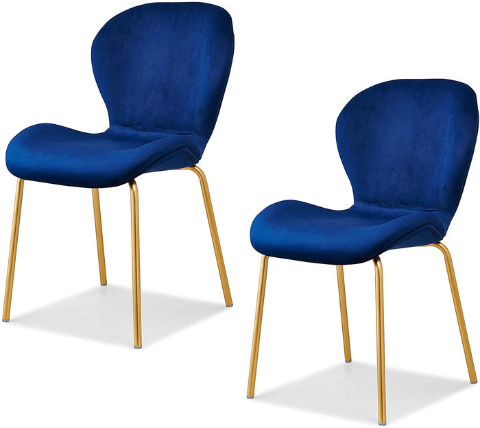 Set of 2 Fernie Blue Velvet Dining Chairs with Golden Metal Legs 1