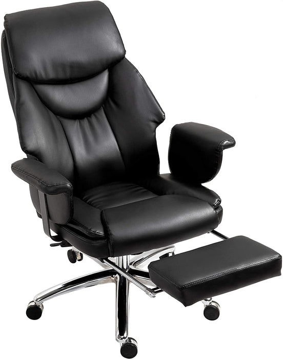 Abraham Wingback Style Office Chair with Footrest in Black PU Leather 3