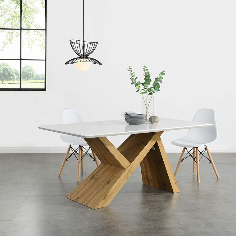 Orillia Oak Effect 160 cm Dining Table  with White Top
