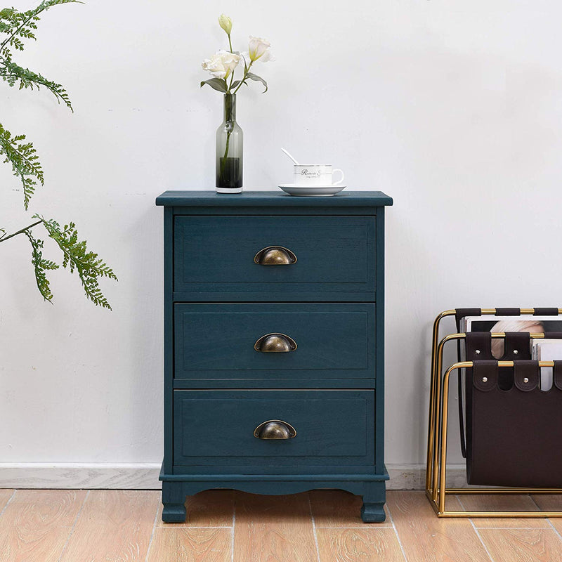 CAMROSE Wooden Chest of Drawers/Bedside Table with Metal Cup Pull Handles Blue 3 Drawer 2
